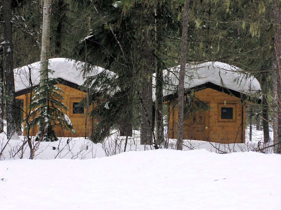 bavariancottages shed kits in deep snow at Mount Robsons Provinicial Park, BC, Canada