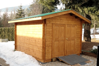 Bavarian Cottages custom machined log Double Door Shed
